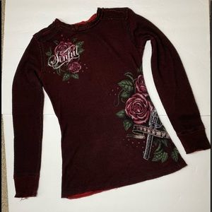 Women's Sinful Deep Red Thermal Top